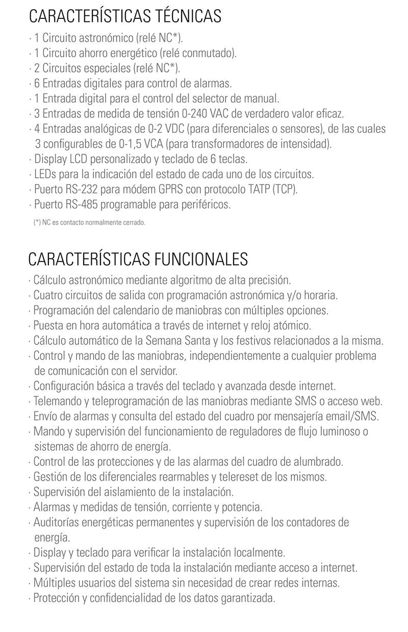 Especificaciones Técnicas  ILUCOM - SALICRU