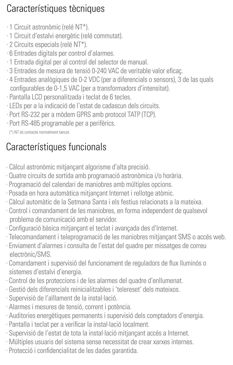 Característiques tècniques  ILUCOM - SALICRU