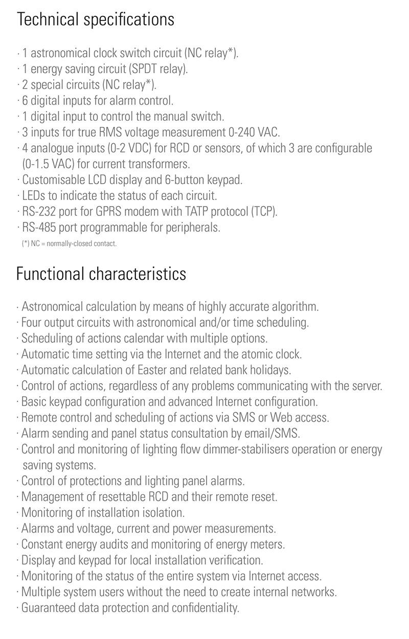 Technische Spezifikationen  ILUCOM - SALICRU